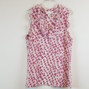 LOFT ruffled sleeveless cotton/silk blouse top